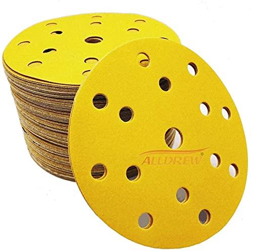 150 mm Schleifscheiben 180 Körnung - 20 Stück ALLDREW // 15 Löcher Klett Schleifpapier für Exzenterschleifer und Scheibenschleifer