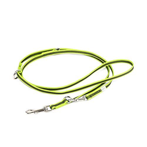 Julius-K9, 218GM-NE-DP, Color & Gray Correa de Perro, Ajustable, 14 mm x 2,2 m, Neón-Gris