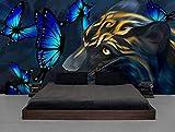 Fotomurales 3D Pantera Azul Brillante Mariposa Pintada A Mano Pintura Al Óleo Fotográfico Mural Papel Pintado Fotomurales Salón Dormitorio Decoración de Paredes Wallpaper 400cm×280cm