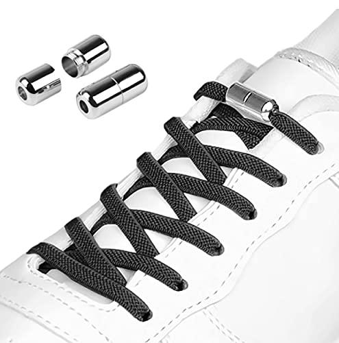 3 Pares Cordones Elásticos para Zapatillas, Cordones Elásticos Sin Nudo con Hebilla Metal para Zapatos Cordones de Zapatos Planos para Niños,Adulto,Ancianos,Discapacitado,Corredores 105cm 5mm Negros