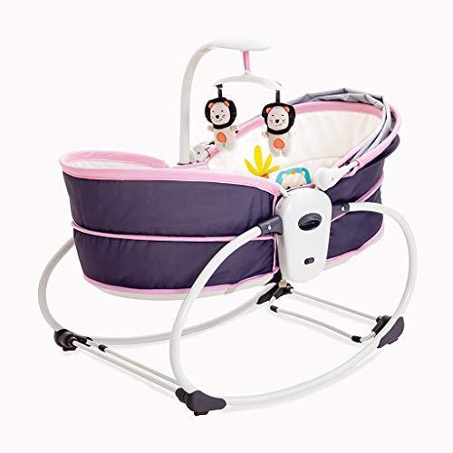Qi Tai Wiege Stuhl Baby Elektrische Babybett Wiege Vibration Krippe Bett Schaukelstuhl Automatische Komfort Stuhl Shaker Sitzen Sessellift Korb Baby Schaukelstuhl (Farbe : Purple)