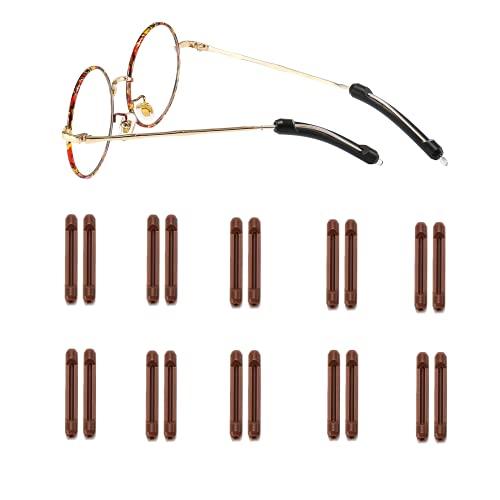 Suertree 10 pares de fundas antideslizantes de silicona para gafas, extremos de patillas antideslizantes, accesorios para gafas de sol, gafas de lectura, color marrón