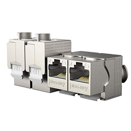 AMPCOM Netzwerk-Adapter - für CAT 6A/7 Kabel - 10 Gbit/s Geschirmt Metall Gehäuse - Werkzeugfreier Anschluss an Modular Patchpanel - 5x Keystone Modul - 22-26AWG