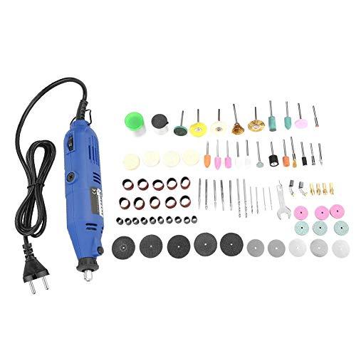 Akozon Mini Amoladoras Rectas Eléctricas Molienda y Pulido Velocidad Ajustable Amoladora de Perforación 130W 3000-8000rpm Tamaño del collar 3.2 mm Azul (EU-Stecker)