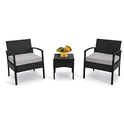 GREARDEN 3 Pieces Outdoor Patio Furniture Sets Patio Conversation Set Bistro Set Rattan Chairs for Balcony Backyard Porch PE Patio Chairs with Cushions 330LBS Light Grey