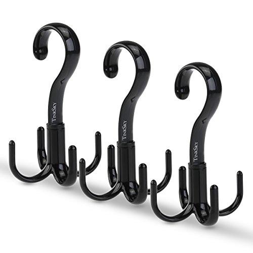 TINKSKY Belt Hanger Scarf Tie Rack Holder Hook for Closet Organizer 360 Degree Rotating (Black(A))