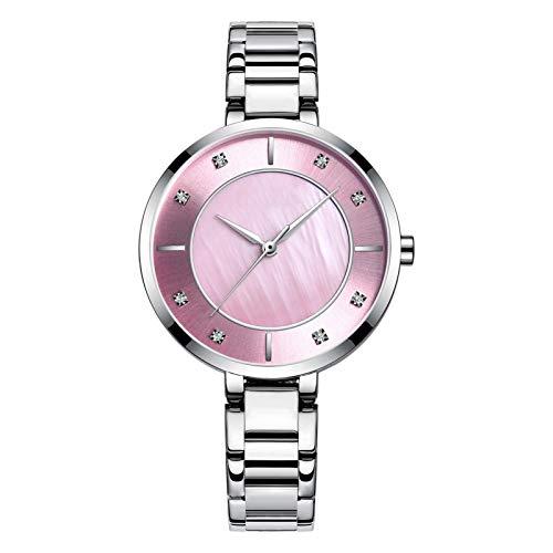 HRWVOR Relojes para Mujer, Mujeres Moda Reloj de Pulsera de Cuarzo con Banda de Acero Inoxidable y Diamante, Elegantes Relojes para Mujer Ladies Business Wristwatch Regalos (Color : Pink)