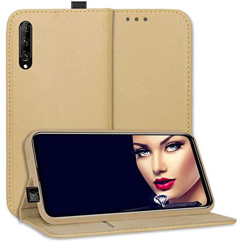 mtb more energy® Schutz-Tasche Bookstyle für Huawei P Smart Pro 2019 (6.59'') - Gold - Kunstleder - Klapp-Cover Hülle Wallet Case