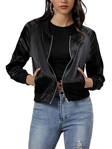 CHARLES RICHARDS Women's Bomber Jacket Zip Up Lightweight Classic Short Jacket Baseball Jacket Coat Black