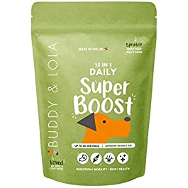 Buddy & Lola Daily SuperBoost – 15-in-1 Complete Dog Multivitamin, Hip & Joint, Probiotic and Skin & Coat Powder Food Topper For Maximum Health & Wellness