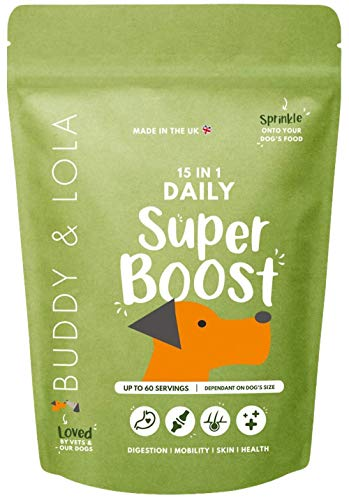 Buddy & Lola Daily SuperBoost - 15-in-1 Complete Dog Multivitamin, Hip & Joint, Probiotic and Skin & Coat Powder Food Topper For Maximum Health & Wellness