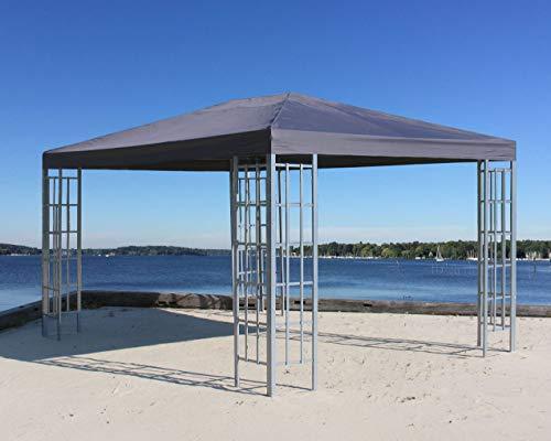 QUICK STAR Metall Pavillon 3x4m Silver Garten Partyzelt Anthrazit RAL 7012