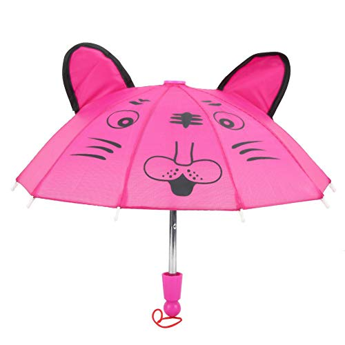 Zerodis Puppe Regenschirm Mini niedlichen Tier mit Ohren Regenschirm Puppe Zubehör für 18 Zoll Babypuppe Ostergeschenk Spielzeug für Mädchen(Rose)
