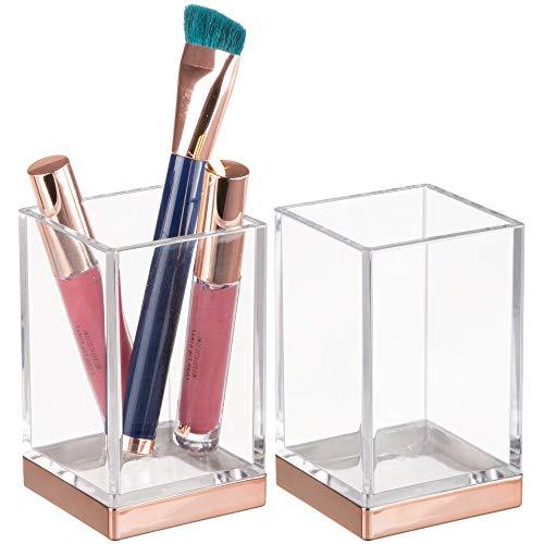 MDESIGN dekorativer Zahnputzbecher aus BPA-freiem Kunststoff – Zahnbürstenhalter für Badzubehör – Becher für Rasierer oder zur Kosmetikaufbewahrung – 2er-Set – durchsichtig und rotgold