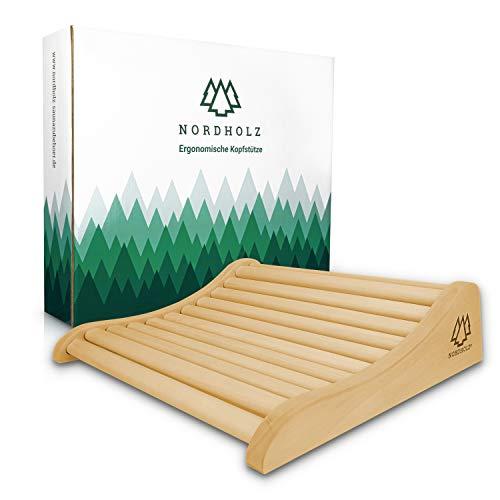 Sauna Kopfstütze Holz - 37x33cm ideale Breite für den optimalen Liegekomfort - Sauna Kopfstütze Ergonomisch handgefertigt aus langlebigem skandinavischem Fichtenholz - Hochwertiges Sauna Zubehör