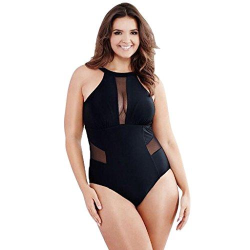 TWIFER Damen Badeanzug Große Größen Schwimmen Mesh Monokini Push Up Bikini (L-3XL) (2XL/EU 42-44, Schwarz)