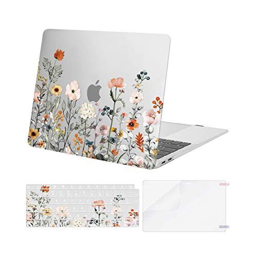 MOSISO Case Compatibile con MacBook Air 13 2020 2019 2018 Versione A2337 M1 A2179 A1932 Retina, Plastica Modello Custodia Rigida&Cover per Tastiera&Proteggi Schermo, Fiori da Giardino Base Trasparente