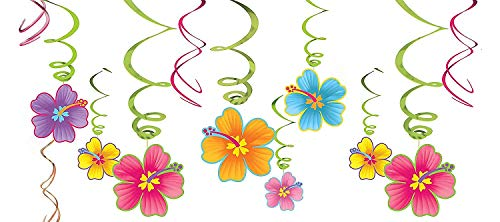 amscan 679293 Luau Party Hanging Swirl Decorating Kit 24' 30 ct, Multi Color, Assorted Sizes (10111727)