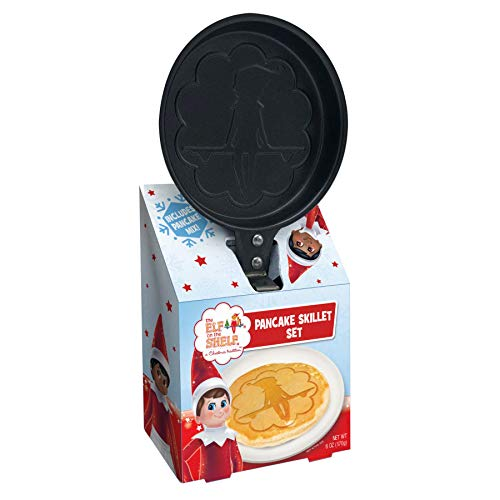 Christmas Breakfast Buttermilk Pancake Mix Gift Set Molded Skillet Makes Traditional Holiday Elf Sitting on Shelf Shaped Pancakes, 6 Ounce