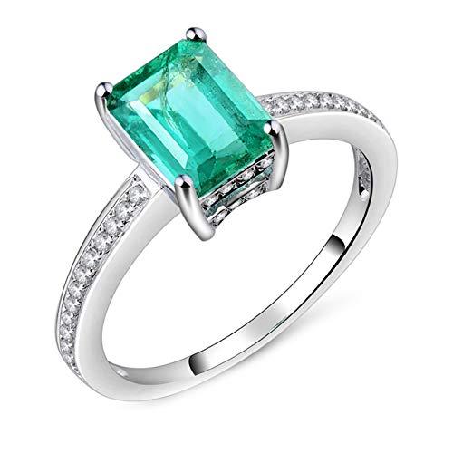 AnazoZ Anillo Esmeralda Mujer,Anillos Compromiso Oro Blanco 18 Kilates Mujer Plata Verde Rectángulo Simple Esmeralda Verde 1.25ct Diamante 0.2ct Talla 16