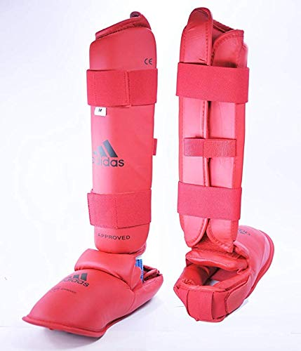 adidas WKF Leg Protector with Instep Guard - Red - Medium (Sz. 6-7)