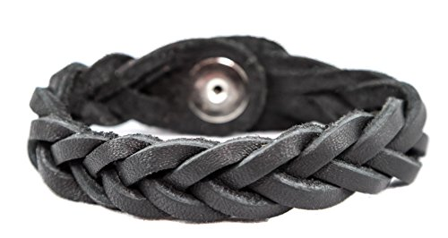Essential Oil Aromatherapy Diffuser Bracelet, Braided Leather, Unisex (Large/Adult, Black)