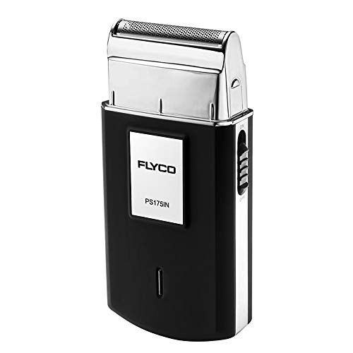 FLYCO Rotary Shavers Mini Pocket Electric Rechargeable Razor Trimmer with Push-Style Reciprocating Blade for Men (Black)
