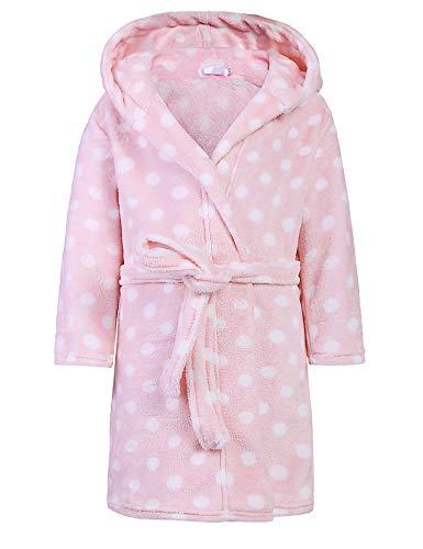 Bricnat Mädchen/Jungen Bademantel Kinder Morgenmantel flauschig Bademäntel mit Kapuze einfarbig Kinder Punkte Rosa/Lila/Blau/Streifen