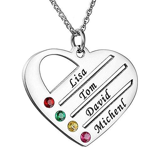Tanwenling33 Personalisierte Namenskette Herz Halskette Frauen Herzanhänger Kette Herzkette mit Geburtsstein Gravur Silber Gold mit 4 Namen Roségold