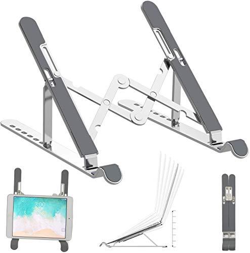 Soporte ajustable para portátil, Aleación de Aluminio Plegable Altura Ajustable de Escritorio Portátiles Riser con Ergonómico Multi-Altura para MacBook Air Pro/iPad/Dell XPS/HP/Lenovo/Kindle