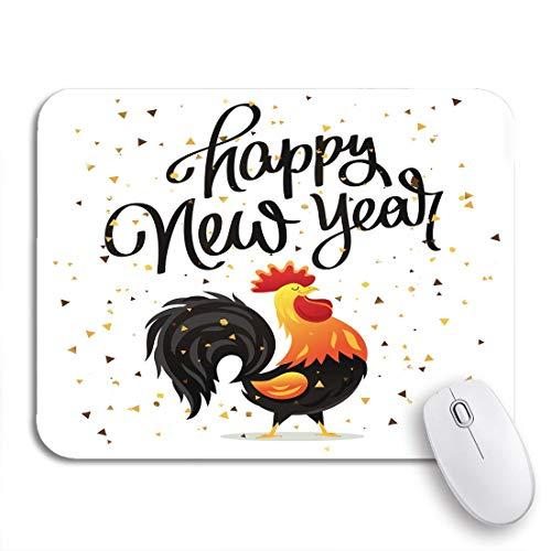 Adowyee Gaming Mauspad Frohes neues Jahr die Trend-Cartoon-Zeichnung von Hahn rutschfesten Gummi-Backing-Computer-Mauspad für Notebooks Mausmatten