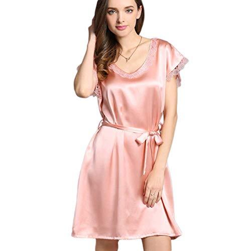 FHISD Camisón para Mujer, Bata de Seda de Morera, lencería Sexy para Mujer, camisón de Cuello Redondo, Mangas Cortas, Ribete de Encaje, Ropa de Dormir de Seda, Pijama