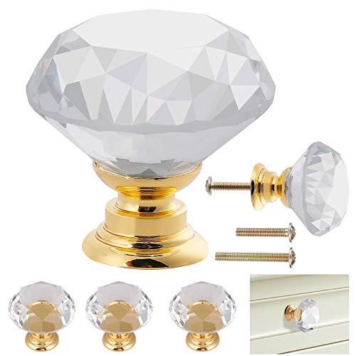 12 pomos de cristal con base dorada, pomos transparentes para armario(30 x 30 mm), pomos de puerta con corte de diamante,viene con dos tipos de tornillos (30 mm y 20 mm),para decoración del hogar con