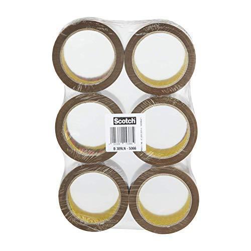 Scotch Nastro adesivo 3M da imballaggio per traslochi e spedizioni, Low Noise, Confezione da 6 Rotoli, Avana