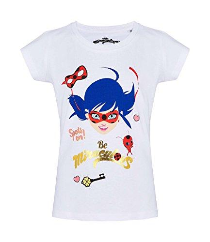 Miraculous, les aventures de Ladybug et Chat Noir - Camiseta de Manga Corta - para niña Blanco 8 Años