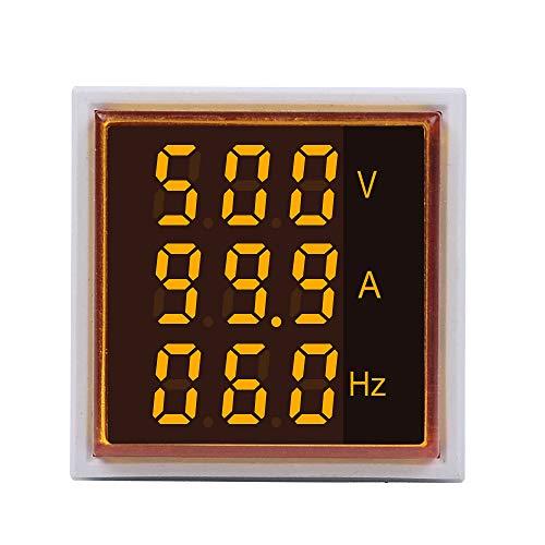 ILS - 5 Stück 3 in 1 AC 60-500V 100A Platz Gelben LED Digital Voltmeter Amperemeter Hertz Meter Signalleuchten Spannung Strom Frequenz Combo Meter-Indikator Tester mit runden CT