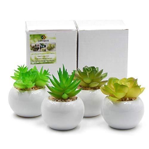 OFFIDIX artificiali dell'ufficio per la decorazione domestica e dell'ufficio con il vaso di ceramica 4pcs / Set in bianco coperto della pianta in vaso verde (rotondo)