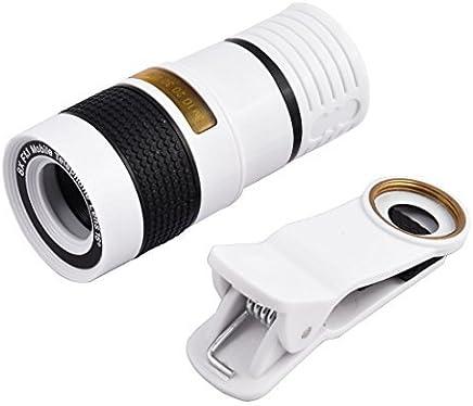 eDealMax Clip de HD 8X óptico ZoomTelephoto lente de la cámara Negro Blanco Para el teléfono