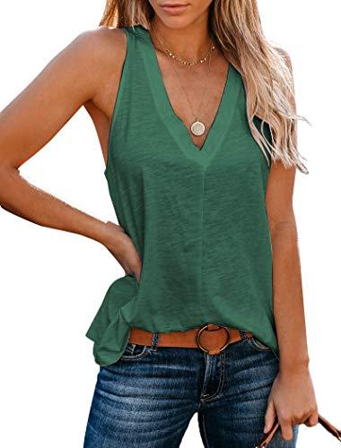 Uincloset Women's Summer Basic Sleeveless V Neck Casual Tank Tops Loose Shirts