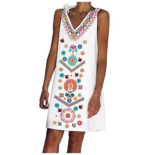 Pistaz - Vestido de verano para mujer, diseño tropical Hawaiiano, sin mangas