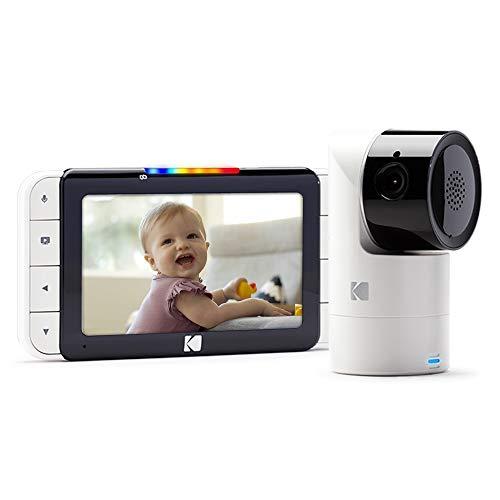 KODAK CHERISH C525 - Cámara Vigilabebe de alta definición con WiFi y App móvil, monitor de 5 pulgadas, Pan/Tilt/Zoom, visión nocturna infrarrojos y conversación bidireccional