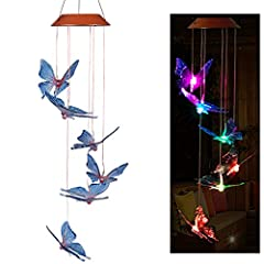 【7 COLOR-CHANGING】Hanging chimes with solar-powered color changing LED glow stars.7 color changing LED bulb illuminating the crystals at night, calmly and softly changing from one color to the next. 【Solar Lighted Mobile】Easy to use wind chimes and c...
