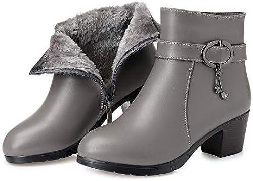 Shukun Botines zapatos de mujer Modelos de otoño e Invierno Cabeza rojoonda PU con Botines mujer Gruesa con algodón botas Martin de Gran tamaño botas para mujer