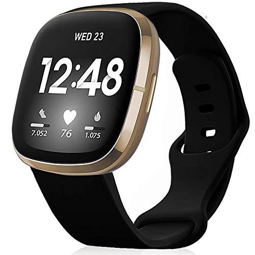 findway Correa Compatible para Fitbit Versa 3 Correa/Sense Correa Silicona Banda de Relojes para Hombres Mujeres, Deportivo Recambio de Pulsera (Sin Reloj), Negro, L