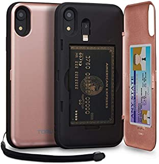 TORU CX PRO iPhone XR Wallet Case Pink with Hidden Credit Card Holder ID Slot Hard Cover, Strap, Mirror & Lightning Adapter for Apple iPhone XR (2018) - Rose Gold