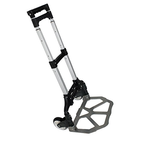 SUPER DEAL 170 Lbs Cart Folding Dolly Push Truck Hand Collapsible Trolley Luggage Aluminium (Black)