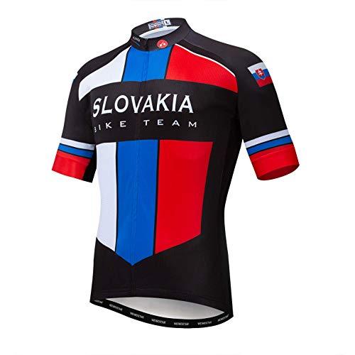 Weimostar Fahrrad Trikot Herren Fahrrad voller Reißverschluss Tops Kurzarmhemd Atmungsaktive Quick Dry Slowakei Size S