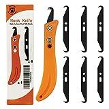 HEADLEY TOOLS Golf Club Hook Knife with Black Blades,Hooked Knife Steel Blade Golf Club Grip Hook Blade Knife(6pcs Hook Knife Blades, 1pc Hook Knife Handle),Golf Club Hook Knife Handle Orange