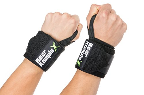 Wrist Support Band Wraps for Weightlifting: Stabilizer Grip for Right / Left Hand with Thumb Hooks - Workout Wraps for Crossfit, Strength Training, Power Lifting and More - 18 Inch Pair, Black