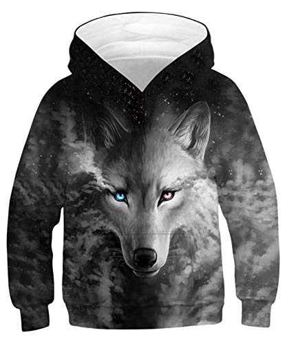 ALISISTER Boys Girls Child Wolf Hoodie Kids 3D Digital Printed Hooded Pullover Pockets Sweatshirt Autumn Winter Tshirts, A-galaxy Wolf, XL-(Height:155-172CM)